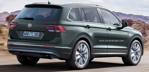 7 Kolltuklu 2016 VW Tiguan'�n Dijital �izimleri